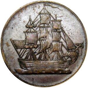 1812 Lower Canada Halfpenny Token Ship Breton 1004 LC-56A1 Rare In Copper