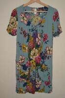 BLUE OVERSIZED FLORAL PRINT JOULES CAMELLIA SHORT SLEEVE TUNIC DRESS UK 10