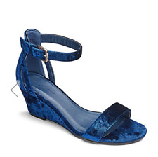 Heavenly Soles Womens UK 5 E Wide Fit Blue Crushed Velvet Wedge Heel New Sandals