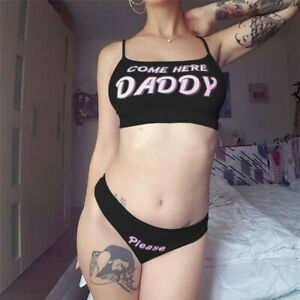 Women Crop Top G-string Briefs Letter Sexy Lingerie Tank Vest Underwear Panties