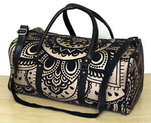Black Golden Floral Mandala Duffle Sports Yoga Gym Bags Unisex Travel Handbags