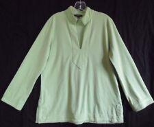 "Lands' End Light Green Cotton Knit Women's Long Slv Tunic Top L 14-16 Bust 43"""