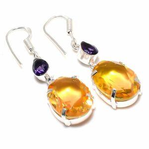 "Citrine, Amethyst Gemstone Handmade 925 Sterling Silver Jewelry Earring 2.09 """
