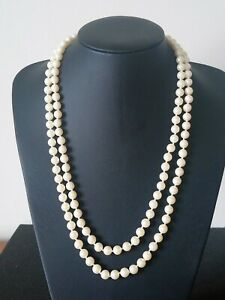 Double Strand Pearl Bead Necklace With Pearl Clasp
