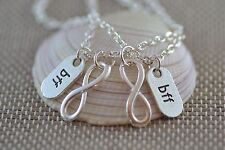 NB045-2 Two BFF Infinity Necklaces, Best Friends, Sisters, Forever Love