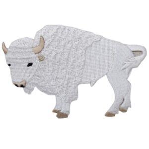 "White Buffalo Applique Patch - Sacred Bison, Spiritual Animal Badge 4"" (Iron on)"