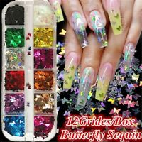 12 Grids Charm 3D Nail Flakes Butterfly Shape Laser Glitter Sequins decoration