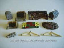 10 piece OO Small works yard. Buildings, scrap compound, assorted items. 096
