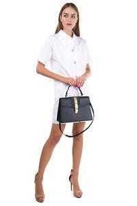 RRP €1980 GUCCI SYLVIE Leather Satchel Bag Web Stripe & Chain Trim Turnlock Flap