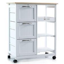 Küchenwagen Holz Servierwagen Rollwagen Küchentrolley Beistellwagen Rollen Weiß