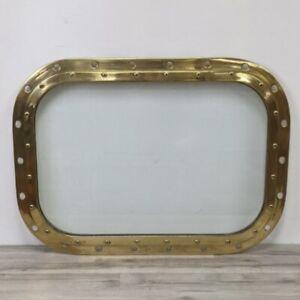 Salvaged Brass Porthole Window 20.5 x 28.25 Inch