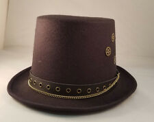 Men's Black Steampunk Hat with Gears Victorian Industrial Adult Size