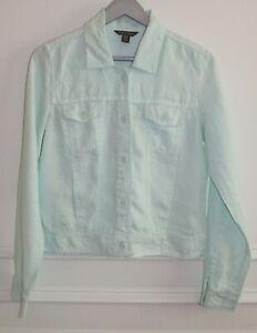Women's Tommy Bahama Two Palms Raw Edge Pale Aqua Blue Linen Jacket Sz S