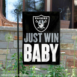 Las Vegas Raiders Just Win Baby Garden Yard Banner Flag