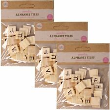 90Pc Scrabble Replacement/Extra Tiles Black Alphabet Letters Wood Wooden Craft