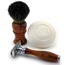 Wooden 3 PCS Shaving Kit with Black Badger Brush shaving Soap and Safety Razor