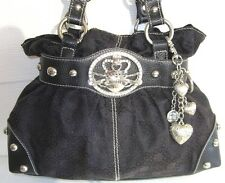 Kathy Van Zeeland  Shoulder Bag Handbag Purse Black Satchel Medium Silver HW