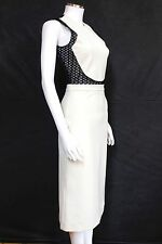 David Koma Black White Contrast cotton-blend dress UK 10