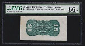 US 15c Fractional Currency Specimen FR 1272sp Reverse spwmb PMG 66 EPQ GEM CU
