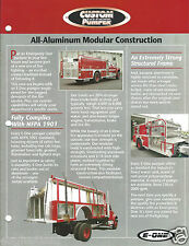 Fire Equipment Brochure - E-One - Custom Pumpers - 1992 (DB219)