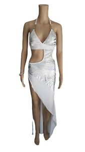 SALE! Exotic Dancer Sexy Stripper CutOut Side Gown White/Silver Dress - SMALL