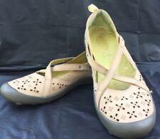 Jambu Mary Jane Mai Tai 8M Oatmeal Slip On Leather Cut Out Cross Strap Shoes