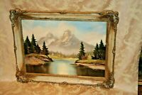 """Antique 34x26"""" Gilt Framed Signed Oil on Canvas Painting of Rocky Mountain Scene"""