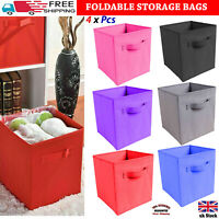 Foldable Storage Boxes, Set of 4 Storage Cubes, Collapsible Fabric Box Organiser