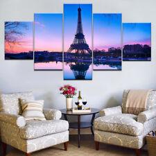 Eiffel Tower Paris Sunset 5 Panel Canvas Print Wall Art