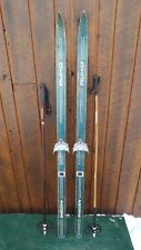 "VINTAGE 58"" Wooden Skis Original Finish Signed RUHO with Bindings + Poles"