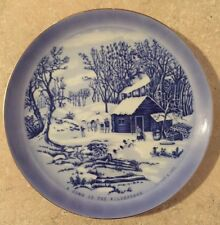 """CURRIER & IVES Decorative Plate """"A HOME IN THE WILDERNESS"""" Japan Blue White"""