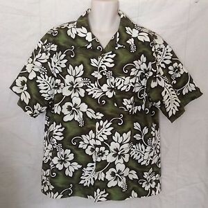 Bullhead Island Series Mens Hawaiian Camp Shirt X-Large Green White Hibiscus