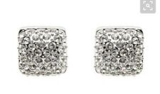 Mimco Crystal Princess Silver Stud Earrings Dust Bag