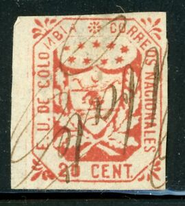 Colombia Classic Used Selections: Scott #32 20c Scarlet (1864) CV$55+