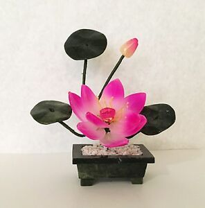 Handcrafted Jade and Glass Pink Lotus Flower Basket Artificial Bonsai Plant