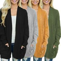 Women's Cable Knitted Long Sleeve Oversize Cardigan Loose Jumper Plus Size Coat