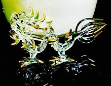 Dragon Glass Figurine Fantasy Animal Craft Gold Paint Collectible Gift Wholesale