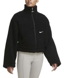 Nike Sportswear Swoosh Women's Sherpa Fleece Jacket (Black/White) CU6639-010