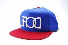 Dope Reverse Logo Snapback Flat Bill Cap Hat Blue/Red