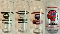 4 Vintage 1990'S Coca-Cola NFL Drinking Glasses 1 GIANTS, 1 BILLS, 2 JETS