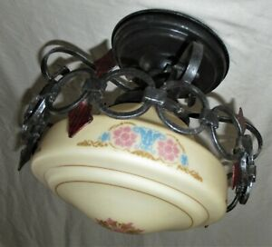 VTG DECO WROUGHT IRON FLUSH MOUNT CHANDELIER CEILING FIXTURE GLASS SHADE 1940'S