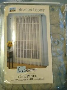 "NIP Beacon Looms Embroidered Window Panel Sage Green 59"" x 84"""