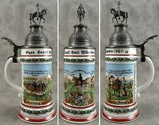 GERMAN REGIMENTAL MILITARY CAVALRY 1907-1910 PORCELAIN BEER STEIN W/ LITHOPHANE