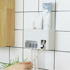 Toothpaste Dispenser Toothbrush Holder Set Wall Mounted Rack Anti-dust Cover HJH