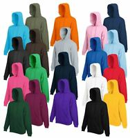 Fruit of the Loom HOODIE Sweatshirt Hoody Jumper Plain Top Sweater Hooded