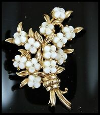 Vintage White Glass Flowers Bouquet Brooch Pin Signed HOLLYCRAFT COPR. 1954