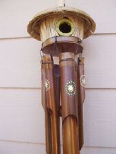 Bamboo Wind Chimes Tiki Bird House Dots Circles Australia Aboriginal FREE SHIP