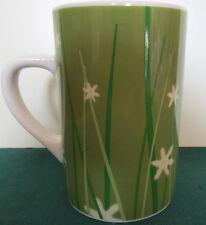 2003 Starbucks Green Grass, White Flowers   Tall 14 oz Mug Cup