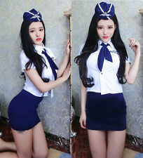 Set Completo Costume Cosplay Sexy Hostess Assistente Volo Blu Lingerie Uniforme