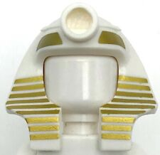 Lego New White Minifigure Headgear Headdress Mummy Gold Stripes Egyptian Piece